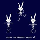 Gullig och rolig skelett- kanin i olikt poserar: aktivitet dans, yoga som är gymnastisk Tecknad filmstil också vektor för coreldr Royaltyfria Bilder