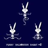 Gullig och rolig skelett- kanin i olikt poserar: aktivitet dans, yoga som är gymnastisk Tecknad filmstil också vektor för coreldr Arkivfoto