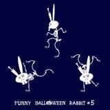 Gullig och rolig skelett- kanin i olikt poserar: aktivitet dans, yoga som är gymnastisk Tecknad filmstil också vektor för coreldr Arkivbilder