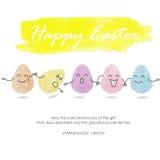 Gullig och trevlig färgrik äggbakgrund för lycklig påsk Arkivbild