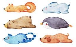 gullig olik set för djur Lata djur vattenfärg stock illustrationer
