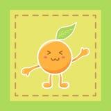 Gullig orange vektor för tecknad film för fruktmaskottecken Royaltyfri Bild