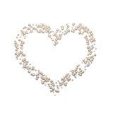 Gullig pärlemorfärg hjärta som isoleras på vit bakgrund Royaltyfria Bilder