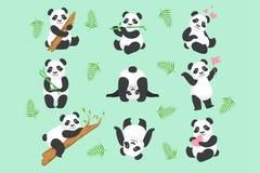 Gullig Panda Character In Different Situations uppsättning royaltyfri illustrationer