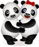 gullig panda för par Fotografering för Bildbyråer