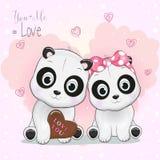 Gullig panda för tecknad film två på hjärtabakgrund vektor illustrationer