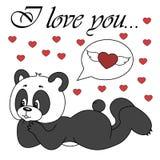 Gullig panda för vektor på vit bakgrund Arkivfoto