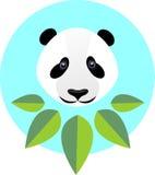 Gullig panda i plan stil Modeillustration av en panda i gre Arkivbilder