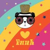 Gullig panda i skraj hatt och exponeringsglas stock illustrationer