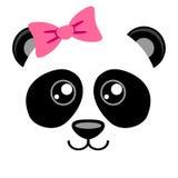 Gullig panda med rosa färgpilbågen Flickaktigt tryck med den kinesiska björnen för t-skjorta Royaltyfri Fotografi