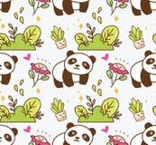 Gullig panda med sömlös bakgrund för blomma royaltyfri illustrationer