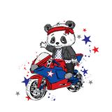Gullig panda på en motorcykel Panda - cyklist rolig björn Vektorillustration för ett kort eller en affisch stock illustrationer