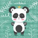 Gullig pandamodell - liten prinsessa royaltyfri illustrationer