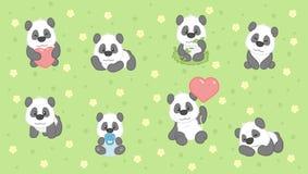 Gullig pandauppsättning för tecknad film som drar för ungar också vektor för coreldrawillustration Arkivbilder