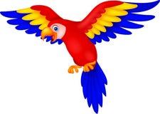 Gullig papegojafågeltecknad film Arkivfoto