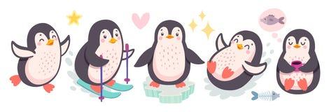 Gullig pingvinskid?kning och att ha gyckel som dricker te roliga tecken vektor illustrationer