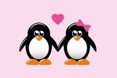 Gullig pingvintecknad filmförälskelse vektor illustrationer