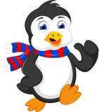 Gullig pingvintecknad filmspring Arkivfoto