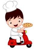 Gullig pizzakock för tecknad film på cykeln Arkivbild