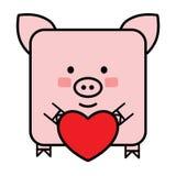 Gullig plan svinemoticon med en hjärta Fotografering för Bildbyråer