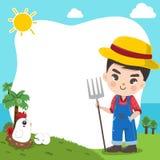 Gullig pojke för bonde i den stora lantgården stock illustrationer