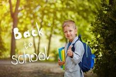 Gullig pojke för liten unge med böcker och ryggsäcken, showgrupp på grön naturbakgrund Med text tillbaka till skolan Arkivfoton