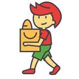 Gullig pojke med begrepp för shoppingpåse stock illustrationer