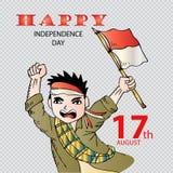 Gullig pojke med den Indonesien flaggan för självständighetsdagen vektor illustrationer