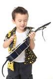 Gullig pojke med gitarren Royaltyfria Bilder