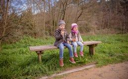 Gullig pojke och liten flicka som äter muffin som sitter på bänk arkivfoton