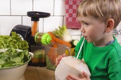 Gullig pojke som dricker kokosnötvatten Royaltyfria Bilder