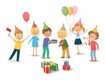 Gullig pojke som firar födelsedag med hennes vänner Isolerad vektor stock illustrationer