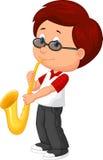Gullig pojke som plying saxofonen Fotografering för Bildbyråer