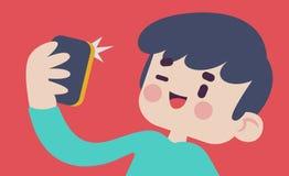 Gullig pojke som tar en Selfie Fotografering för Bildbyråer