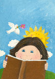 Gullig pojkeavläsningsbok i thepark Arkivfoto