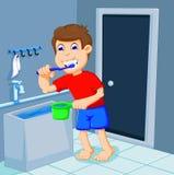 Gullig pojketecknad film som borstar tänder i badrum royaltyfri illustrationer