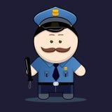 Gullig polis med truncheonen Royaltyfri Bild