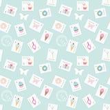 Gullig portomodellbakgrund med Eiffeltorn, muffin och sötsaker på pastell slösar För webbsidadesign anteckningsbokräkning, wrappi stock illustrationer