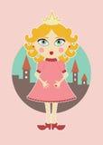 Gullig prinsessa med guld- krullning Royaltyfri Bild