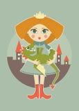 Gullig prinsessa med rött hår Fotografering för Bildbyråer