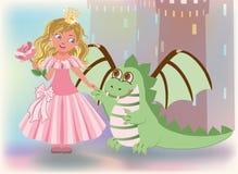 Gullig prinsessa med rosa och draken, lycklig helgonGe Royaltyfri Foto