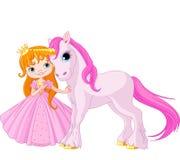 Gullig prinsessa och enhörning Arkivfoton