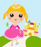 Gullig prinsessa och groda stock illustrationer