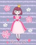 Gullig prinsessa på blommabakgrunden Royaltyfria Bilder