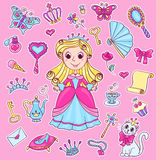 Gullig prinsessaklistermärkeuppsättning Arkivfoton