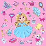 Gullig prinsessaklistermärkeuppsättning Fotografering för Bildbyråer