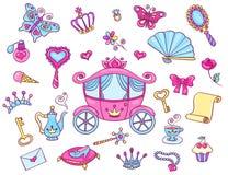Gullig prinsessauppsättning med vagnen Fotografering för Bildbyråer