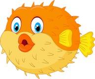 Gullig pufferfisktecknad film Arkivfoto