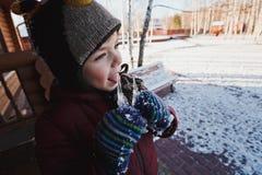 Gullig pys i omslag, hatt och tumvanten som slickar istappar Ett trähus Vinterlandskap i bakgrunden royaltyfri bild