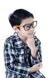 Gullig pys med ögonexponeringsglas Fotografering för Bildbyråer